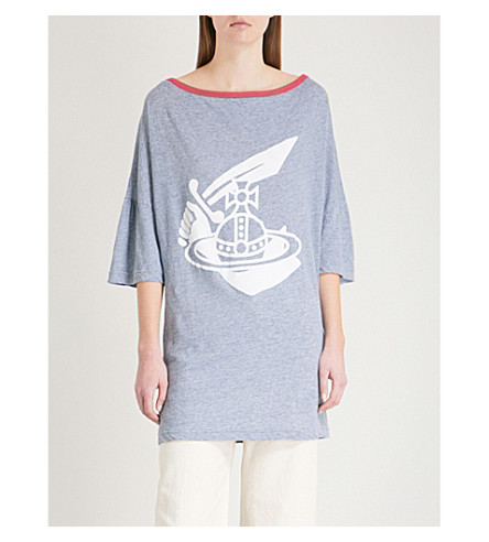 VIVIENNE WESTWOOD ANGLOMANIA Middling linen and cotton-blend T-shirt (Blue