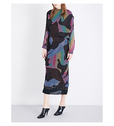 ANGLOMANIA New Fond abstract striped chiffon dress (Multi