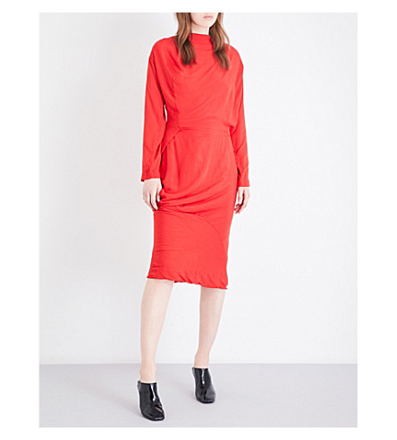ANGLOMANIA New Fond draped woven dress (Red