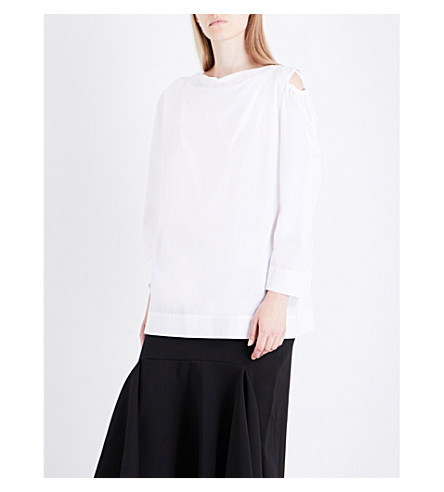 ANGLOMANIA Fatima cold-shoulder cotton blouse (Optical+white