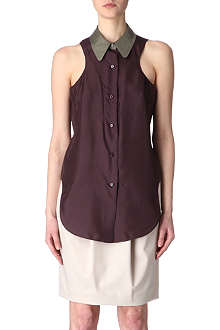 CARVEN Contrast-collar silk top