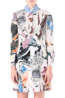 CARVEN Collage-print silk-crepe shirt dress