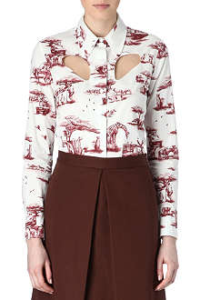 CARVEN Cut-out safari-print shirt