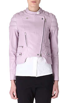 CARVEN Padded-shoulder leather jacket