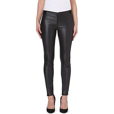 ALICE & OLIVIA Panelled leather leggings (Black