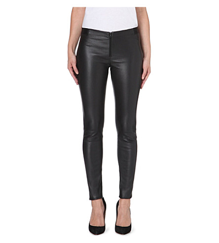 ALICE & OLIVIA Panelled leather leggings (Black
