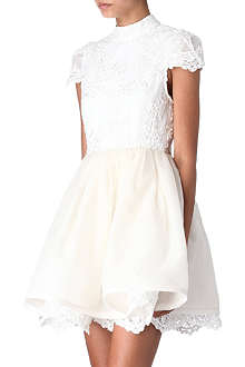 ALICE & OLIVIA Embroidered lace prom dress