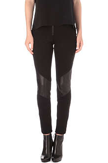 ALICE & OLIVIA Leather-insert leggings