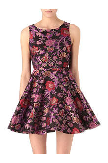ALICE & OLIVIA Embroidered flared dress