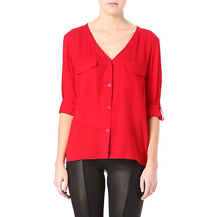 ALICE & OLIVIA Donnie button-down silk shirt (Cherry