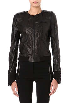 ALICE & OLIVIA Textured-leather jacket