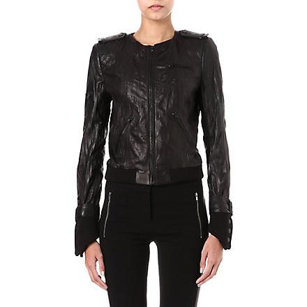 ALICE & OLIVIA Textured leather jacket (Black