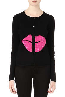 ALICE & OLIVIA Sequinned-lips wool cardigan