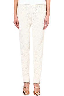 ALICE & OLIVIA Cotton-blend floral lace trousers
