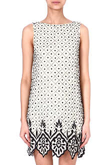 ALICE & OLIVIA Embellished silk shift dress