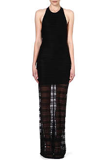 ALICE & OLIVIA Lace and leather maxi dress