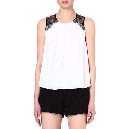 ALICE & OLIVIA Lorretta lace combo top (White