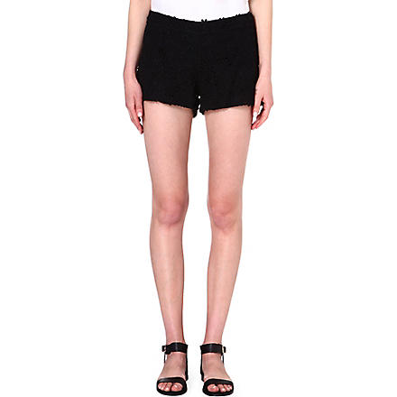 ALICE & OLIVIA Crochet lace micro shorts (Black