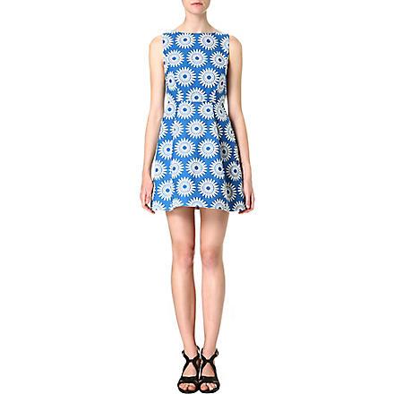 ALICE & OLIVIA Epstein daisy-jacquard dress (Blue/white