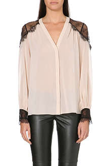 ALICE & OLIVIA Sofia stretch-silk and lace shirt