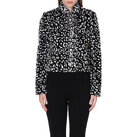 ALICE & OLIVIA Mailynn cropped faux-fur jacket (Black/white