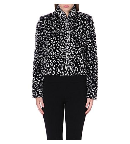 ALICE & OLIVIA Mailynn cropped faux-fur jacket (Black/white