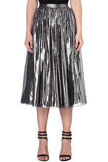 ALICE & OLIVIA Lizzie pleated metallic skirt