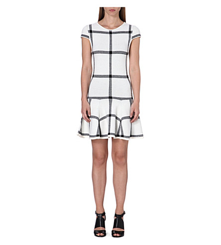 ALICE & OLIVIA Selma checked drop dress (White/black