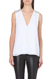 ALICE & OLIVIA Harper embellished-detail chiffon top