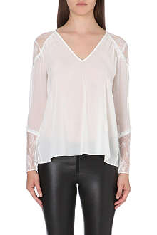 ALICE & OLIVIA Lace-detail silk top