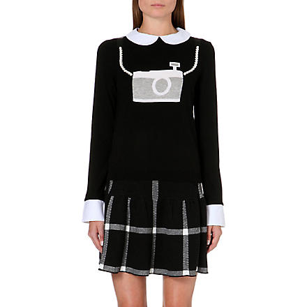ALICE & OLIVIA Camera wool-blend jumper (Black/white/silver