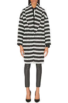 ALICE & OLIVIA Ralter striped oversized coat