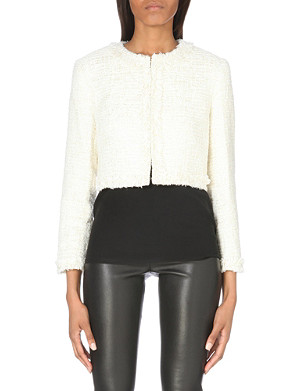ALICE & OLIVIA Boxy cropped tweed jacket