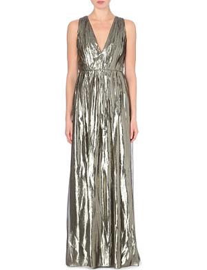 ALICE & OLIVIA Issa metallic ruched gown