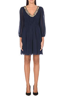 ALICE & OLIVIA Rease embellished-neckline silk dress