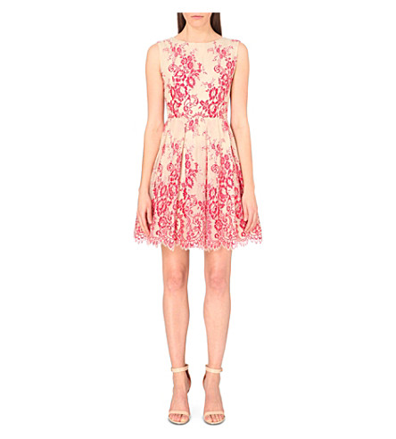 ALICE & OLIVIA Floral lace dress (Red natural