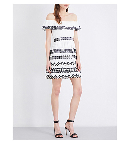 ALICE & OLIVIA Rozzi off-the-shoulder woven dress (Off white black