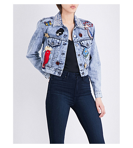 ALICE & OLIVIA Chloe embellished denim jacket (Stone+wash