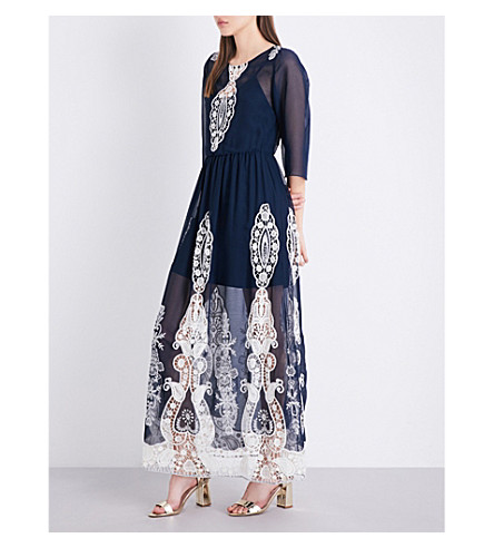 ALICE & OLIVIA Aquinnah chiffon maxi dress (Navy+cream