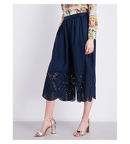 ALICE & OLIVIA Eden embroidered silk-twill trousers (Indigo