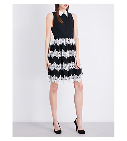 ALICE & OLIVIA Stari cotton-poplin and floral-lace mini dress (Black+white