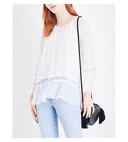 ALICE & OLIVIA Lima silk-georgette blouse (White