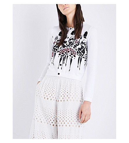 ALICE & OLIVIA Ruthy Stace knitted cotton-blend cardigan (White+black