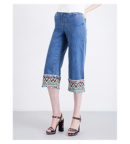 ALICE & OLIVIA Beta embellished wide high-rise jeans (Vintage+wash+multi