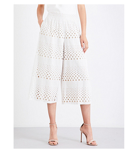ALICE & OLIVIA Samara high-rise cotton-broderie anglaise pants (White sesame
