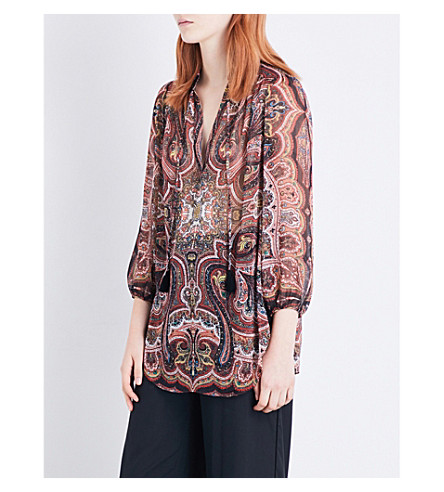 ALICE & OLIVIA Sterling chiffon blouse (Paisley+scarf