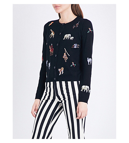 ALICE & OLIVIA Ruthy animal-embroidered knitted cardigan (Black+multi