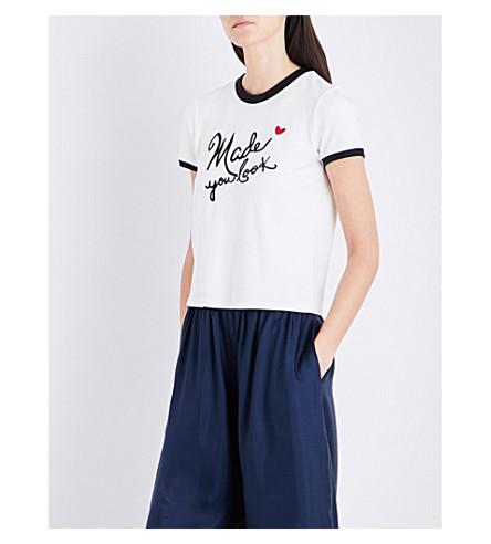 ALICE & OLIVIA Embroidered cotton T-shirt (White+multi