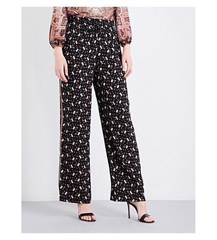 ALICE & OLIVIA Benny relaxed-fit high-rise crepe trousers (Ditsy+blossom