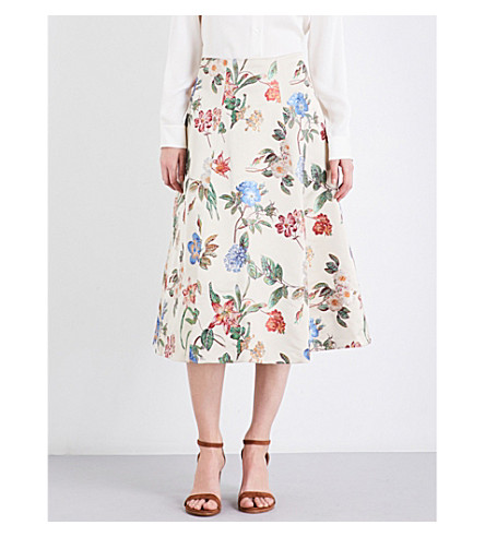 ALICE & OLIVIA Midlen A-line high-rise jacquard skirt (Natural multi